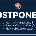 C-team Girls Basketball Game vs Olathe West Postponed (2/5/2021)