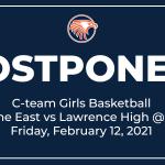 C-team Girls Basketball Game vs Lawrence High Postponed (2/12/2021)