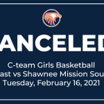 C-team Girls Basketball Game vs Shawnee Mission South Canceled (2/16/2021)