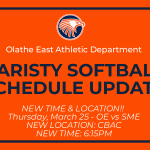 OE Varsity Softball Schedule Change, 3/25 vs SME – now at CBAC, 6:15pm