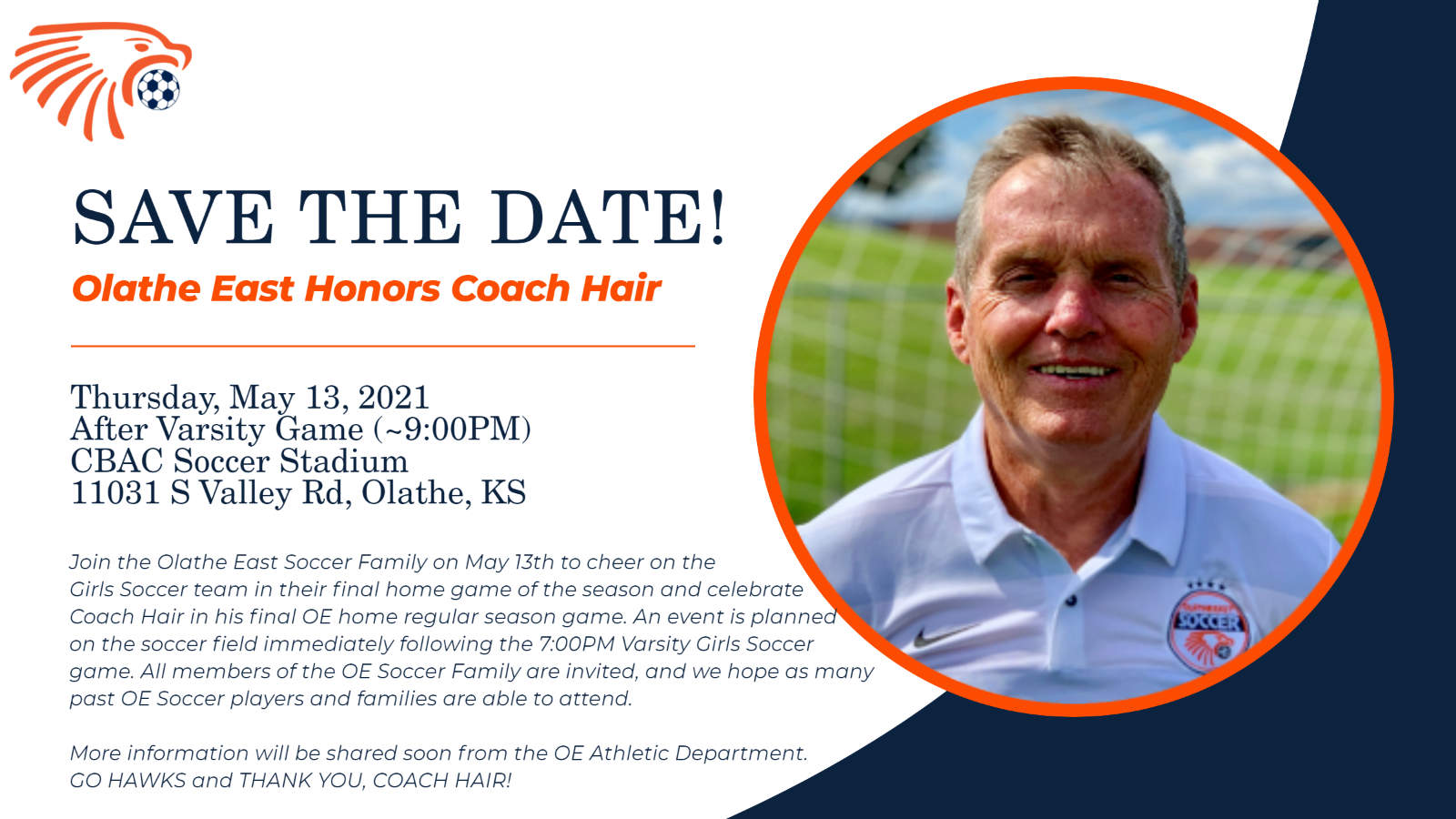 SAVE THE DATE! Olathe East Honors Coach Hair – May 13, 2021 @ CBAC