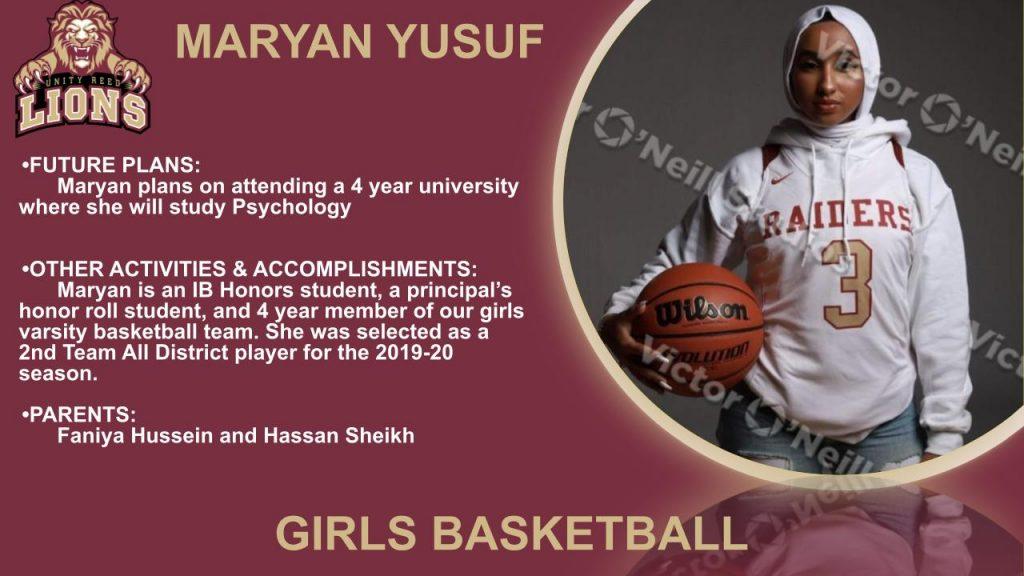 Maryan Yusuf senior recognition