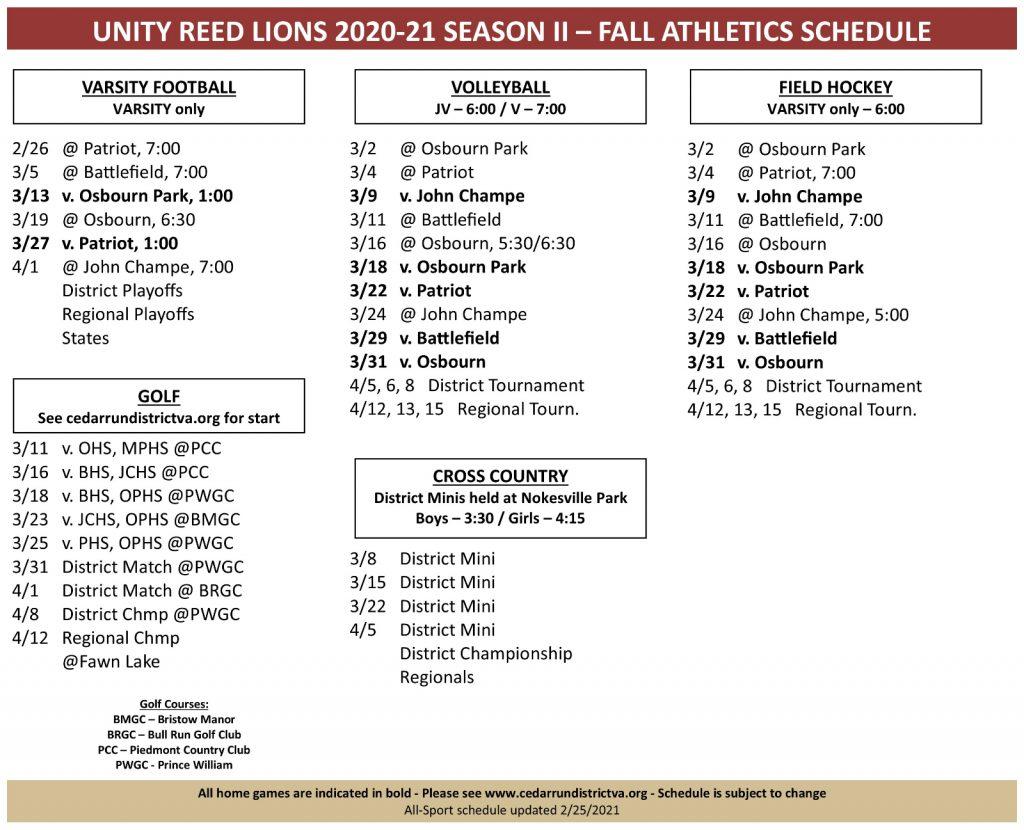 Fall All Sports Schedule