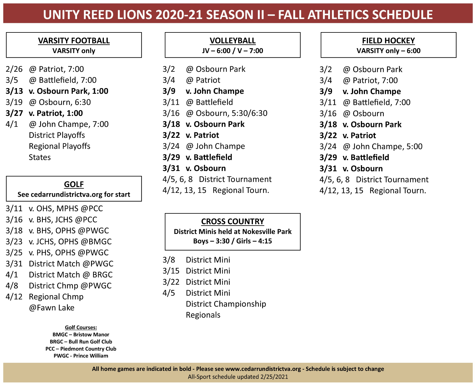 Lions Fall Sports Schedule