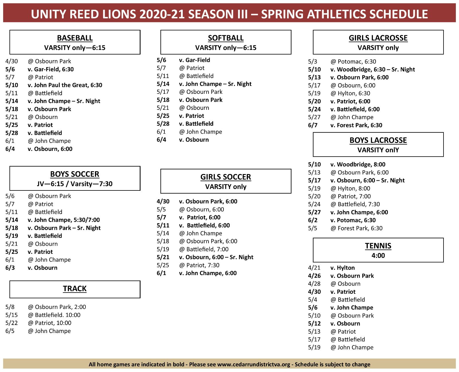 Lions Spring Sports Schedule