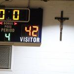 Varsity Boys' Basketball vs St Pius...a loss by one point! Pius 43, R-VII 42