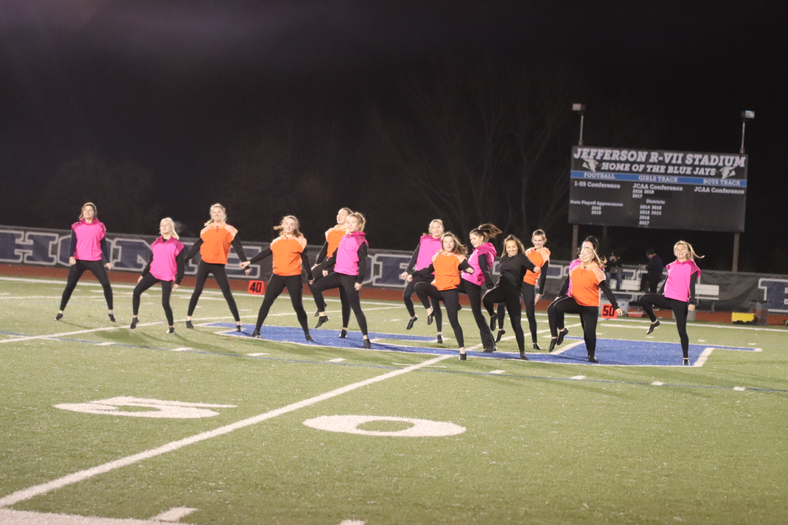 Dance team during halftime JHS vs New Madrid FB game 11/13/20