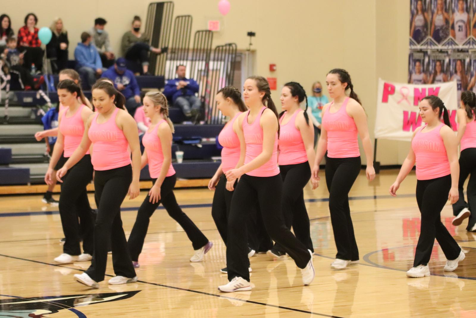 High School Dance Team during Hoops for Heart Basketball Games  1/22/21