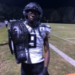 #9 A J McFadden gets for turnover belt of season against Great Falls.