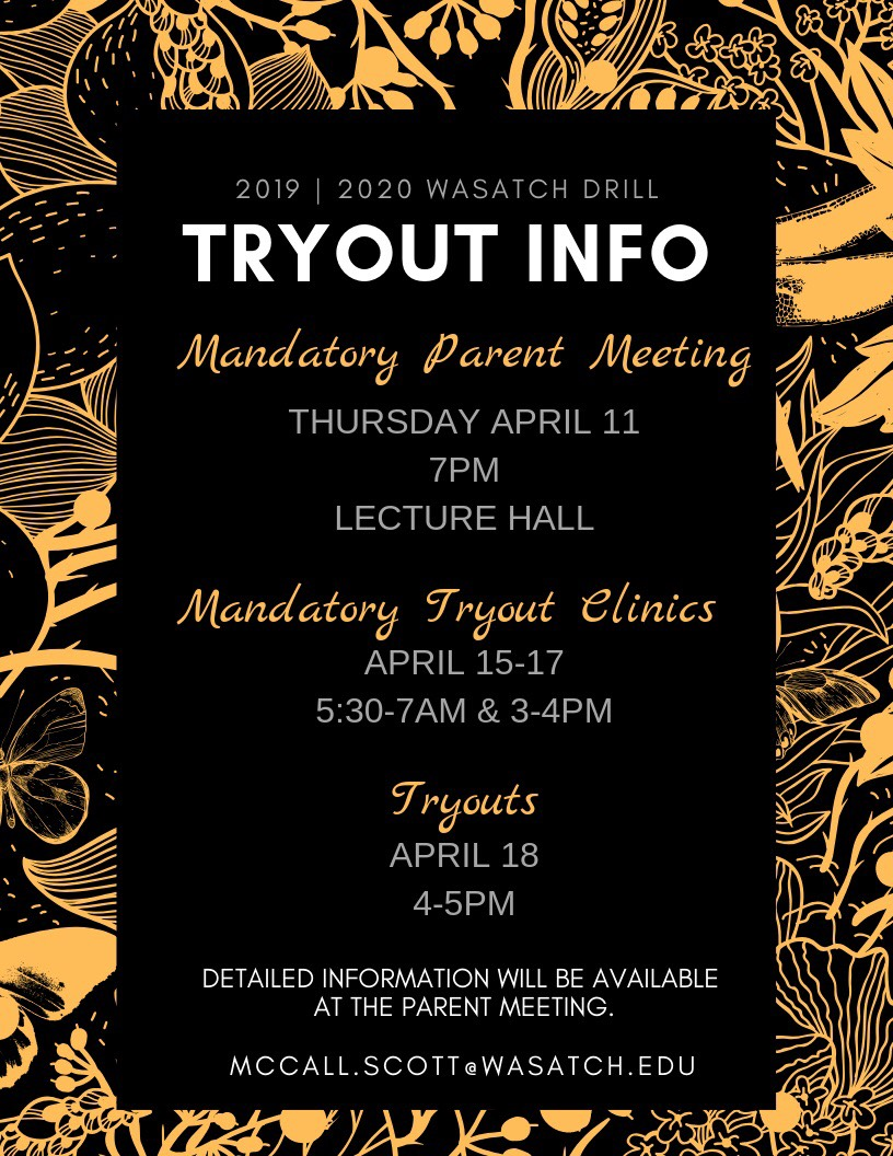 2019-20 Drill Team Tryout Info & Other important dates