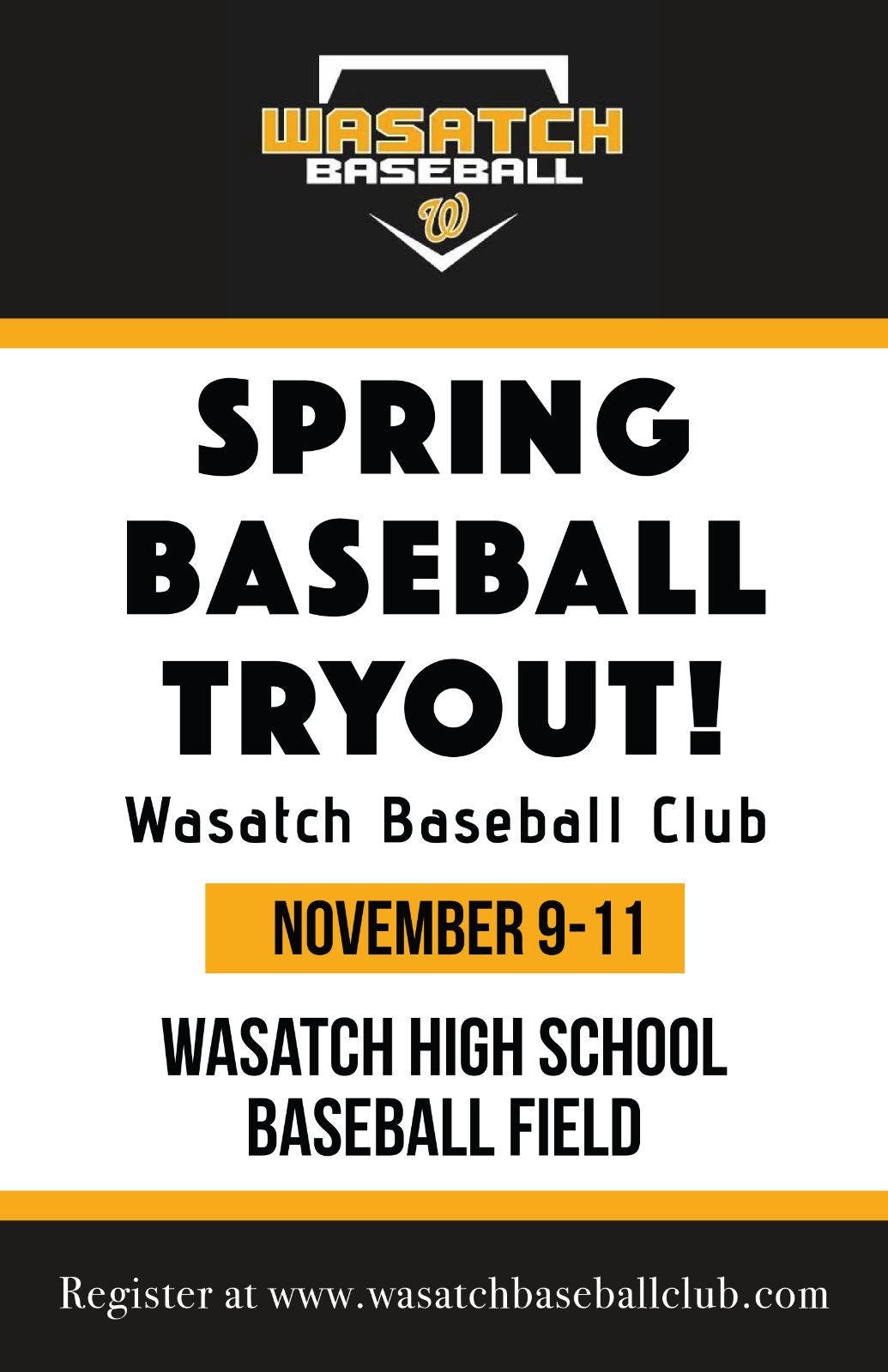 2021 Spring Wasatch Baseball Club Tryouts!