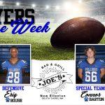 Football: Week 3 Joe's Grill Players of Week