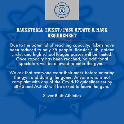 New Basketball Ticket/Pass Update & Mask Information