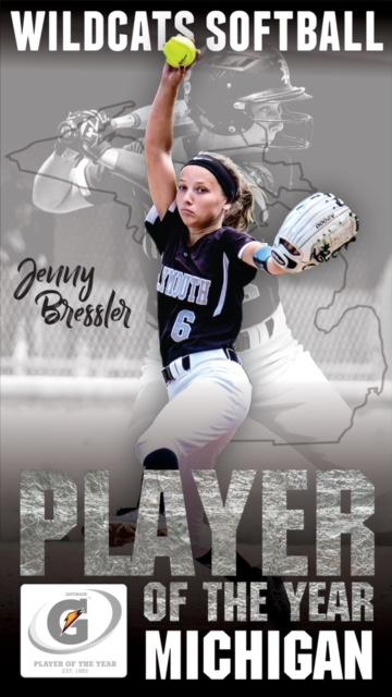 Plymouth Softball – Jenny Bressler wins Michigan Gatorade Player of the Year
