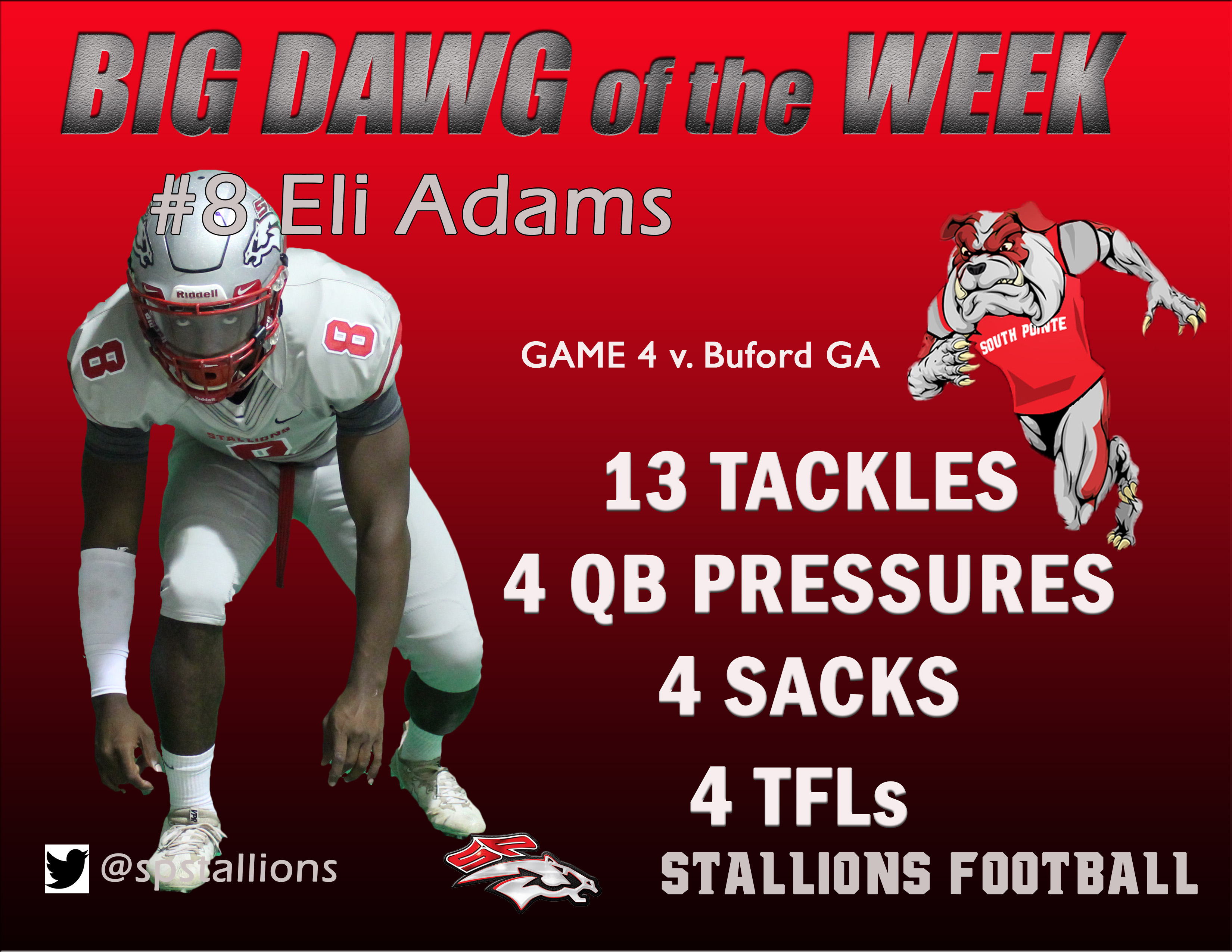 #8 Eli Adams Big Dawg of Week