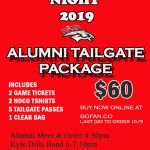Order Your Alumni Tailgate Package Now- Last Day to Order 10/5