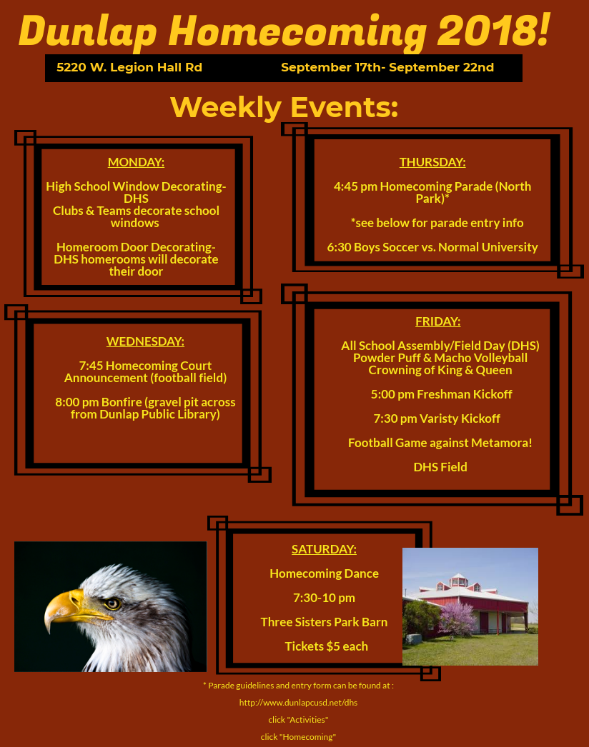 Homecoming 2018 Schedule of Events