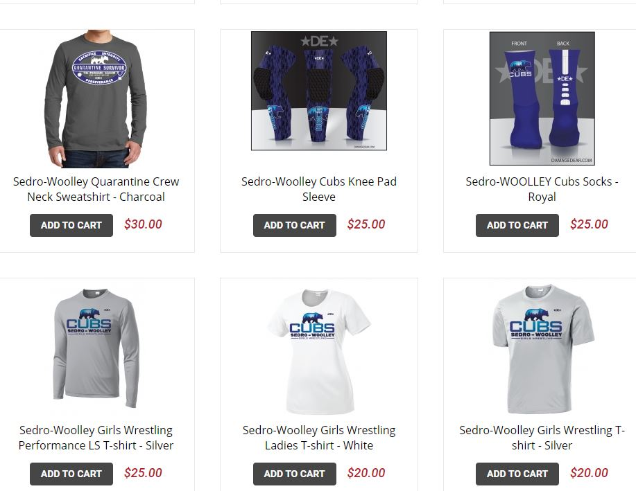 Wrestling Team Store Items
