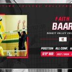 Faith Baar playing college volleyball