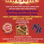 Tom and Chee Fundraiser Friday, September 27th and Saturday, September 28th for the Girls Varsity Gymnastics Team