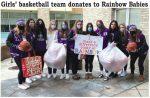 Royalton Recorder:  Girls' Basketball Team Donates to Rainbow Babies and Children's Hospital