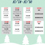 Winter Break Workout Schedule!
