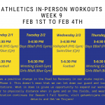 Week 9 of In-Person Workouts