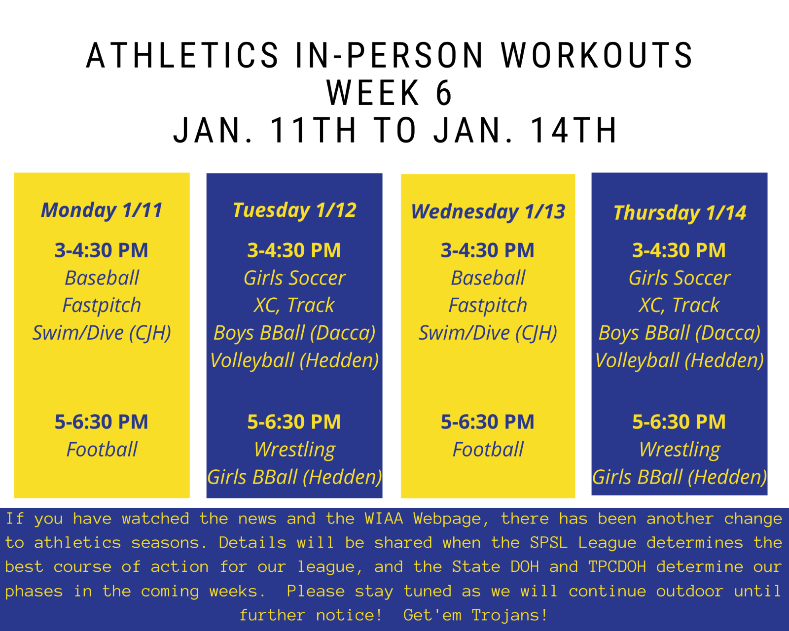 Workouts continue 1/11 to 1/14!