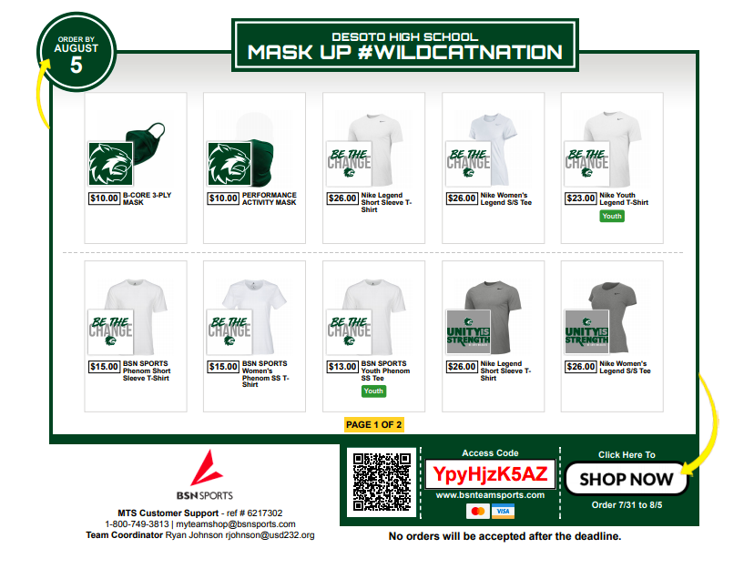 Mask Up #WildcatNation – Online Shop