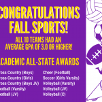 Fall Sports Excelled in Academics!!!