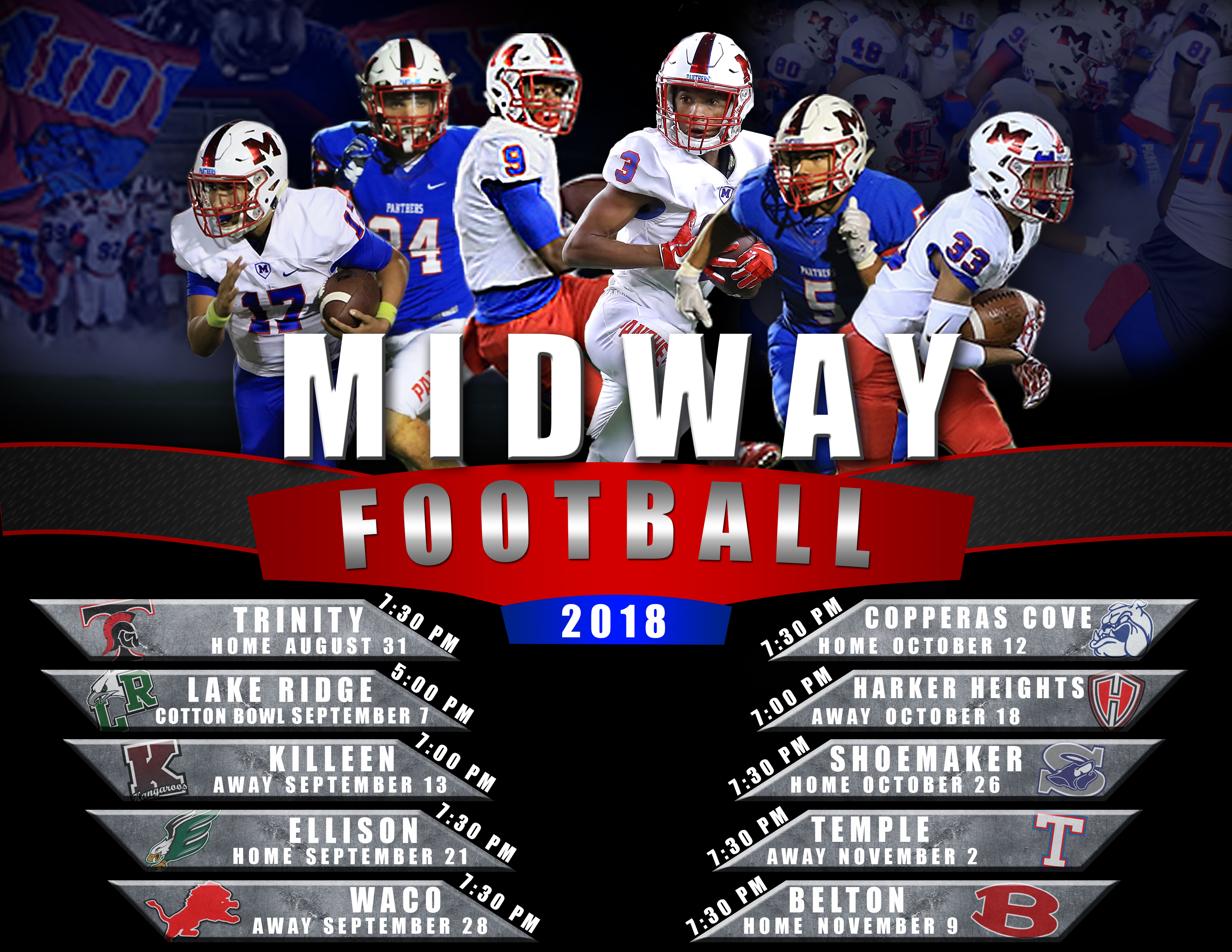 2018 Midway Panther Football Schedule