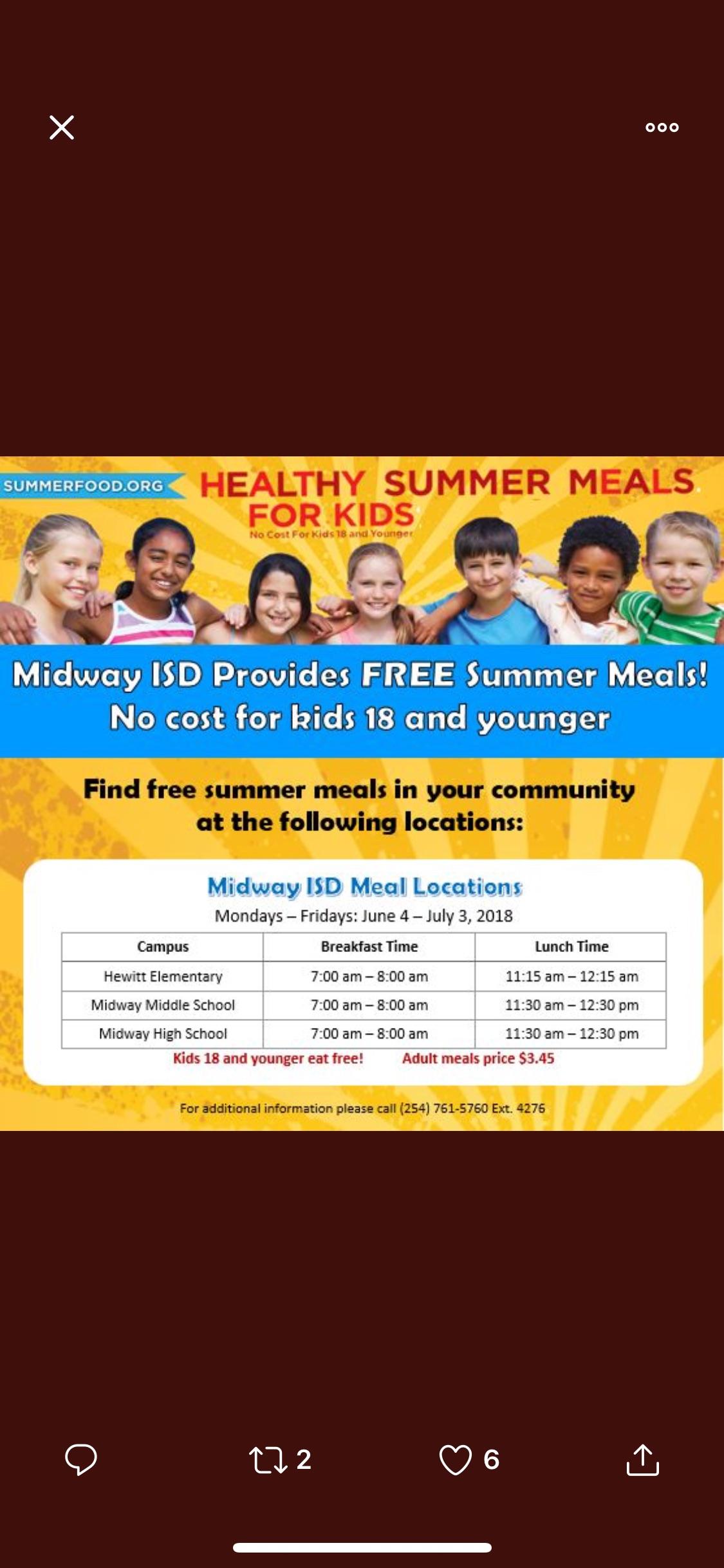 Summer Feeding Program begins Monday, June 4th.