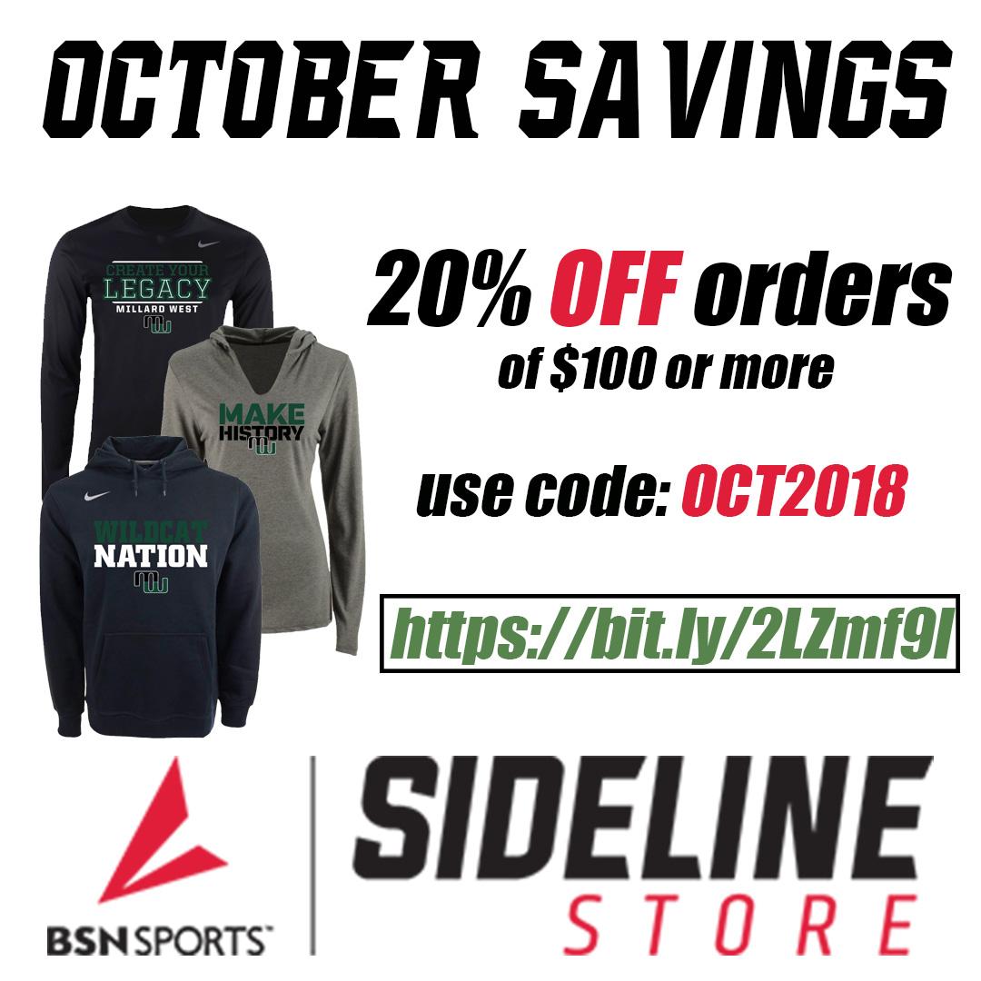 October Sideline Store Deal