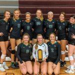 Girls Junior Varsity Volleyball beats Papillion-La Vista South 2 – 0 to win the Norfolk Invitational