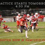 HSFB Practice Starts Tomorrow