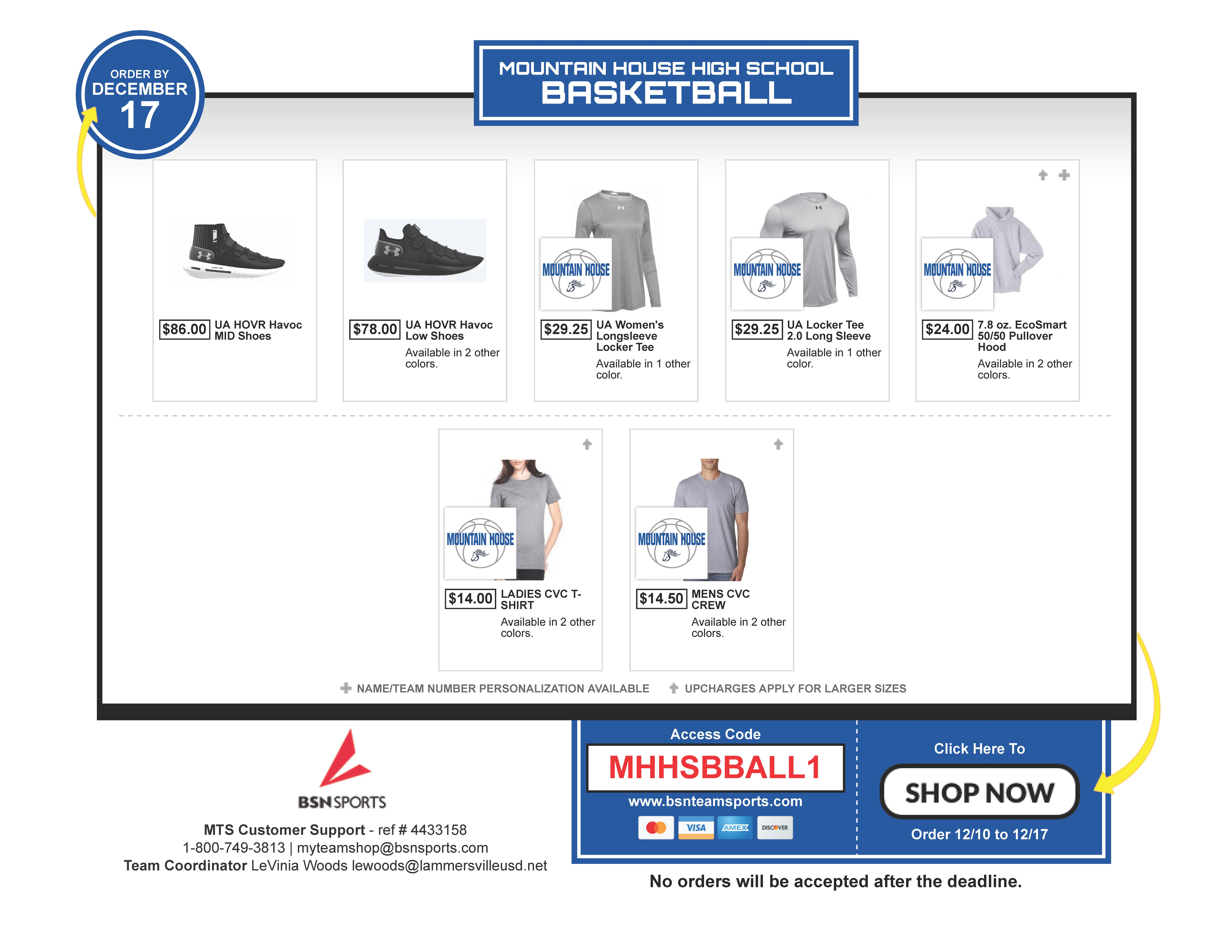 Get Your MHHS Bball Gear NOW!!!