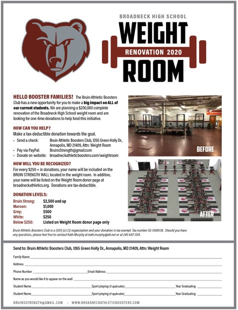 Weight Room Renovation 2020 Has Begun! We Need Your Support!