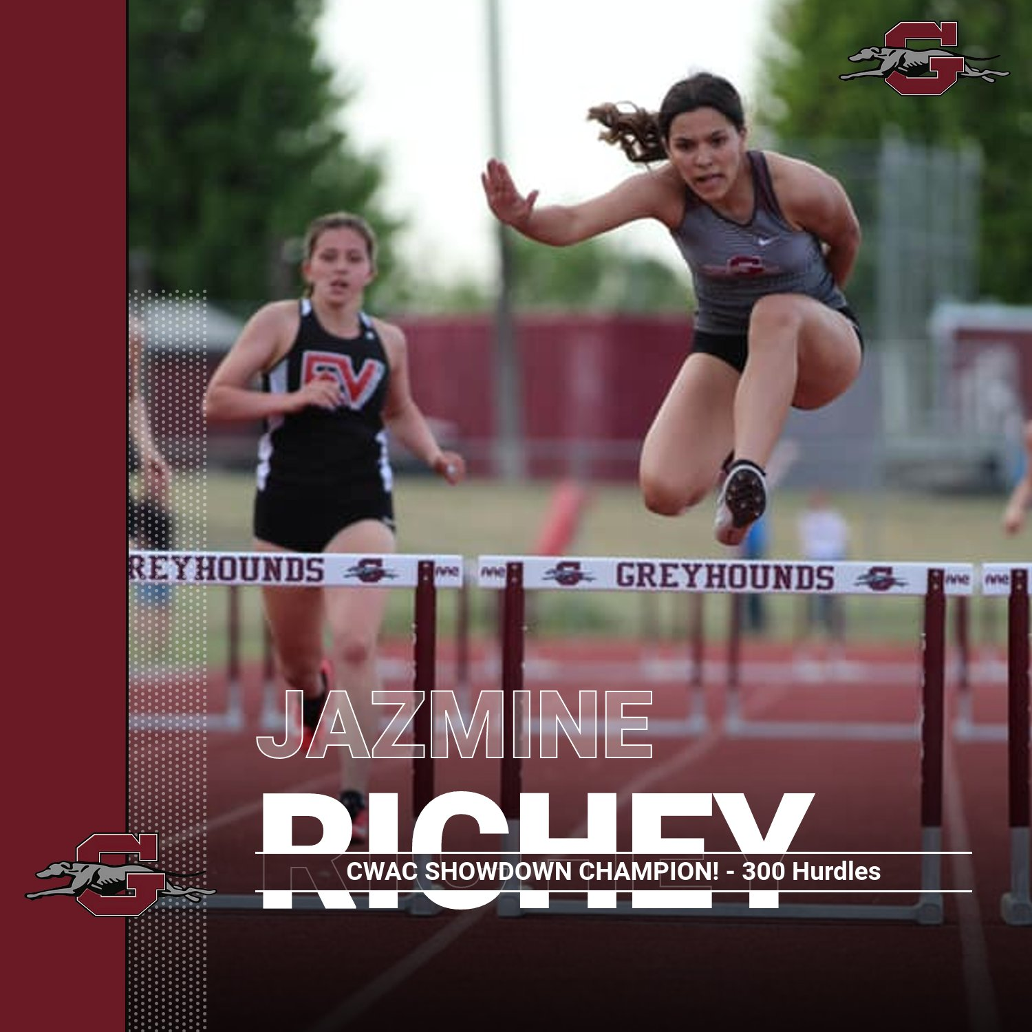 Jazmine Richey wins 1st Place in 300 Meter Hurdles and 3rd Place in the 200 Meter Dash!