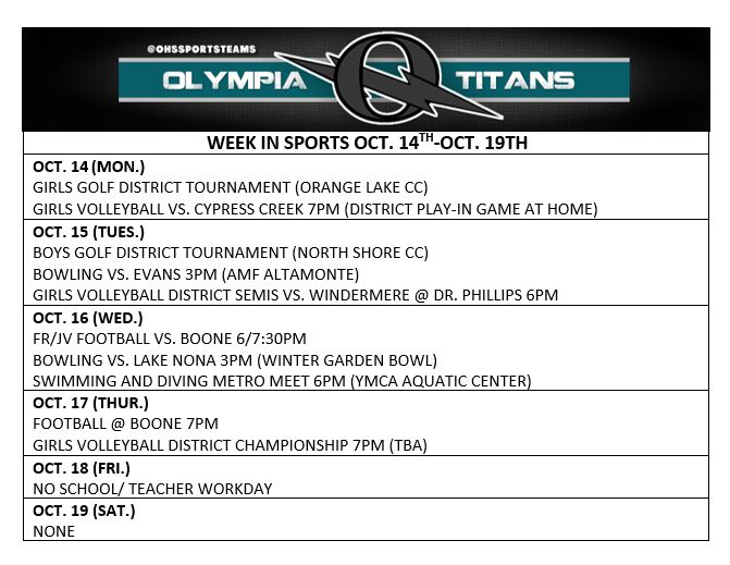 WEEK IN SPORTS: OCT. 14TH-19TH