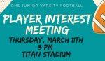 JV Football Meeting March 11th 3:00