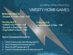 Titan Varsity Home Schedule – April 11, 2021