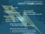 Titan Varsity Home Schedule – April 18