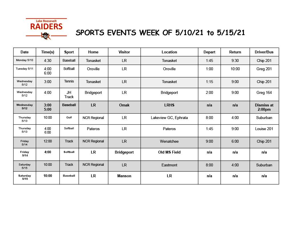 Upcoming Raiders Sports