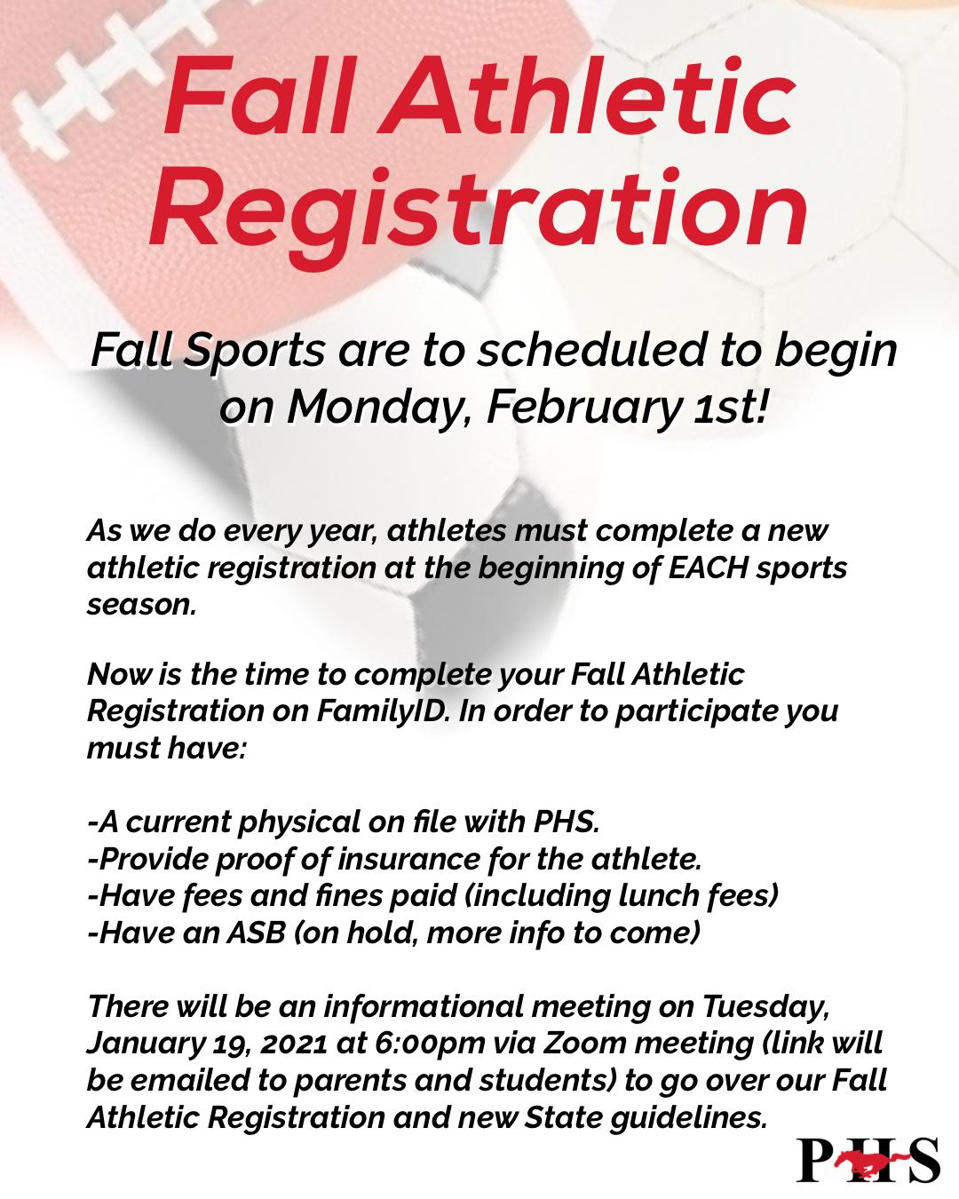 Information regarding fall athletic registration.