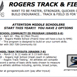 2019 Track & Field Info for Middle Schoolers