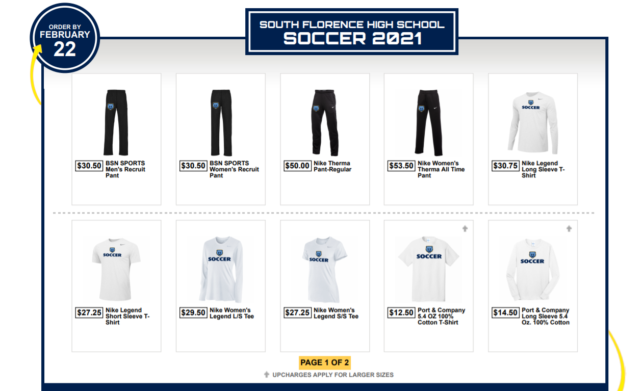 Team Shops:  Boys Tennis, Boys and Girls Soccer