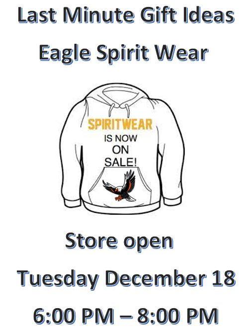 Eagle Spirit Store Open – Tuesday, December 18th – 6:00 PM – 8:00 PM
