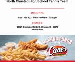 Boys Tennis Fundraiser – Raising Canes (May 13th)