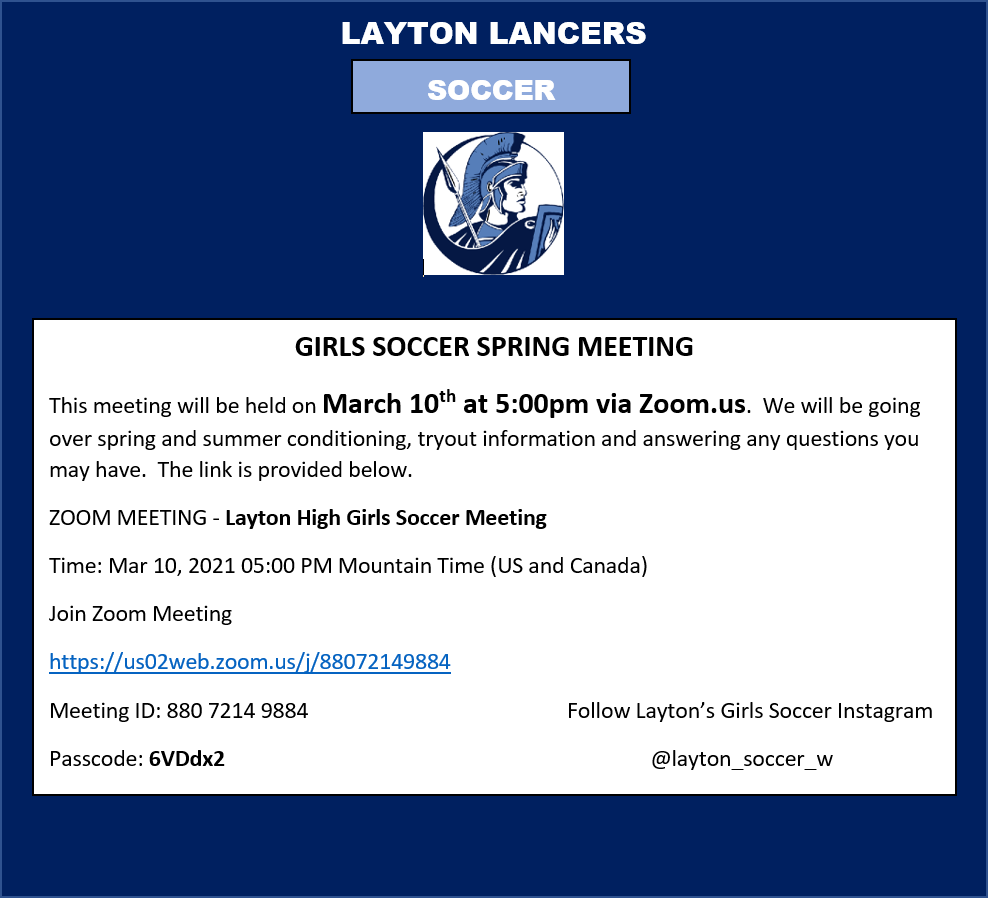 Girls Soccer Spring Meeting