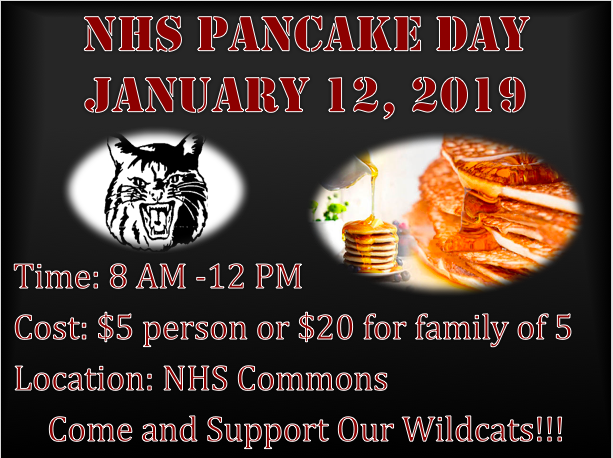 Athletic Booster Club Pancake Day, January 12, 2019